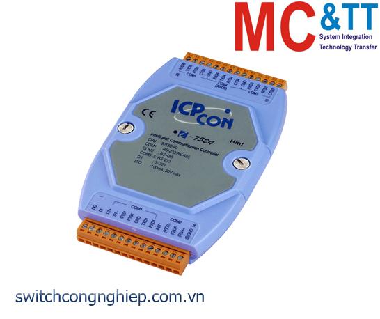 I-7524 CR: Bộ chuyển đổi tín hiệu RS-485 sang 4 cổng RS-232/RS-485 với 1 DI+1 DO ICP DAS