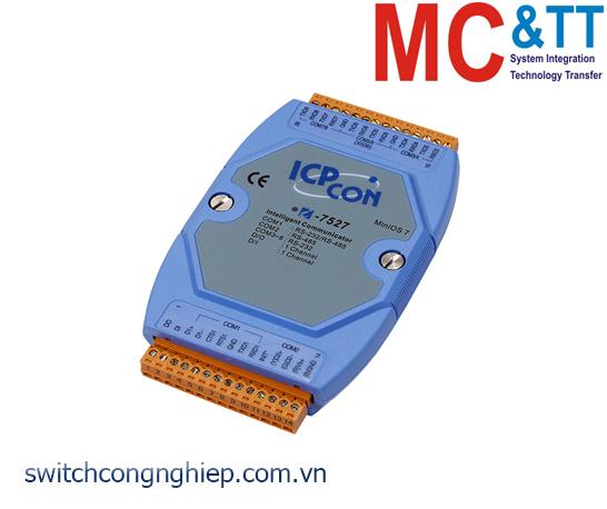 I-7527 CR: Bộ chuyển đổi tín hiệu RS-485 sang 7 cổng RS-232/RS-485 với 1 DI+1 DO ICP DAS