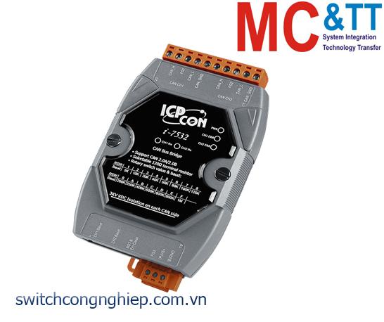 I-7532-G CR: Bộ chuyển đổi tín hiệu 2 kênh CAN bus cách ly ICP DAS