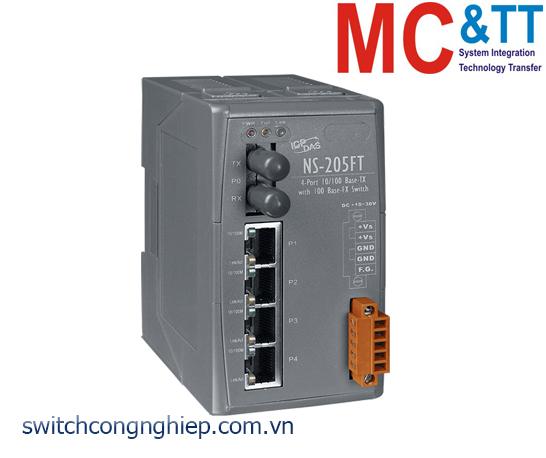 NS-205FT CR: Bộ chuyển mạch công nghiệp 4 cổng Ethernet 1 cổng quang Multi mode ST ICP DAS