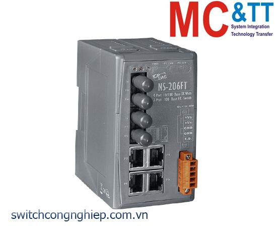 NS-206FT CR: Bộ chuyển mạch công nghiệp 4 cổng Ethernet 2 cổng quang multi mode ST ICP DAS