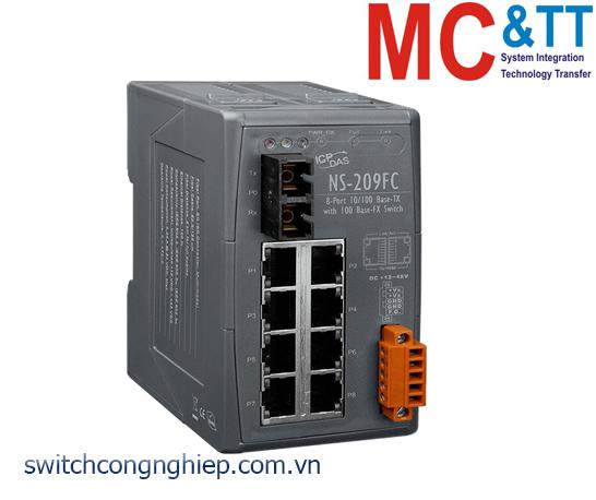 NS-209FC CR: Bộ chuyển mạch công nghiệp 8 cổng Ethernet 1 cổng quang Multi mode SC ICP DAS