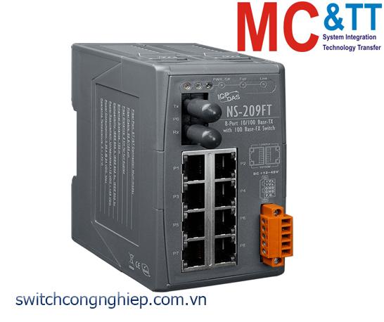 NS-209FT CR: Bộ chuyển mạch công nghiệp 8 cổng Ethernet 1 cổng quang Multi mode ST ICP DAS
