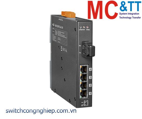NSM-205PFCS-60-24V CR: Bộ chuyển mạch công nghiệp 4 cổng PoE (PSE)+1 cổng quang Single mode SC 60KM+24 VDC ICP DAS