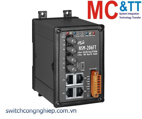 NSM-206FT CR: Bộ chuyển mạch công nghiệp 4 cổng Ethernet 2 cổng quang multi mode ST ICP DAS