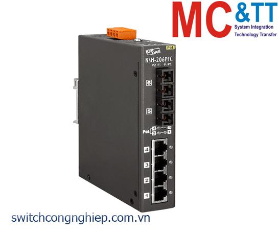 NSM-206PFC CR: Bộ chuyển mạch công nghiệp 4 cổng PoE (PSE)+2 cổng quang Multi mode SC ICP DAS