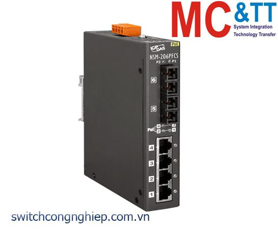 NSM-206PFCS CR: Bộ chuyển mạch công nghiệp 4 cổng PoE (PSE)+2 cổng quang Single mode SC ICP DAS
