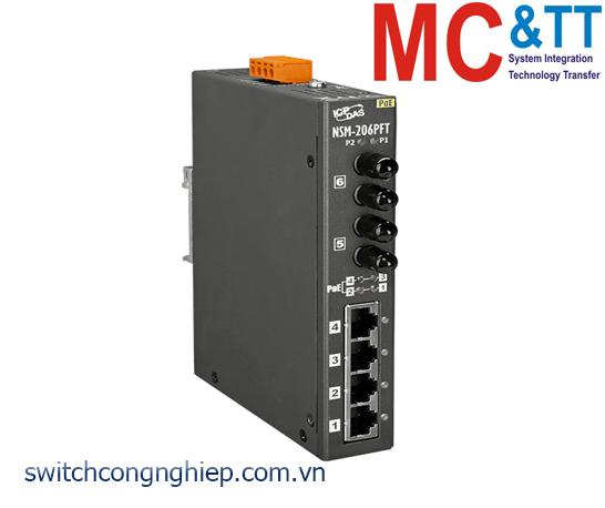 NSM-206PFT CR: Bộ chuyển mạch công nghiệp 4 cổng PoE (PSE)+2 cổng quang Multi mode ST ICP DAS
