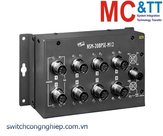 NSM-208PSE-M12 CR: Bộ chuyển mạch công nghiệp 8 cổng PoE Ethernet M12 EN50155 ICP DAS