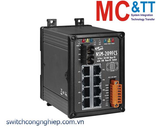 NSM-209FCS CR: Bộ chuyển mạch công nghiệp 8 cổng Ethernet 1 cổng quang Single mode SC 30km ICP DAS