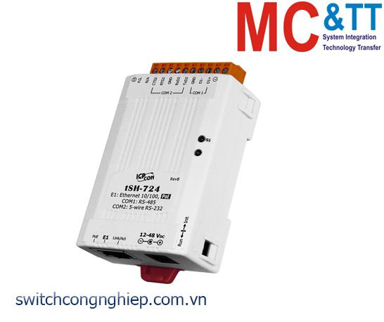 tSH-724 CR: Bộ chuyển đổi tín hiệu 1 cổng RS-232 +1 cổng RS-485 với PoE ICP DAS