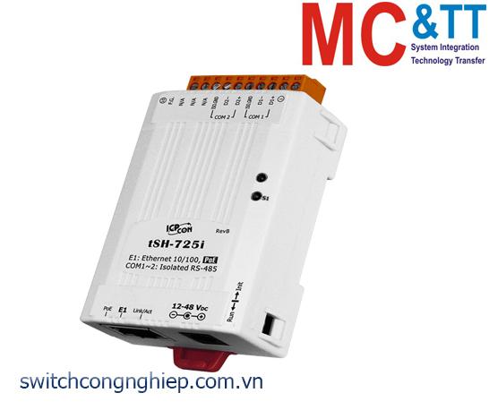 tSH-725i CR: Bộ chuyển đổi tín hiệu 2 cổng cách ly RS-485 với PoE ICP DAS