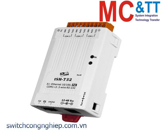 tSH-732 CR: Bộ chia cổng 3 cổng RS-232 với PoE ICP DAS
