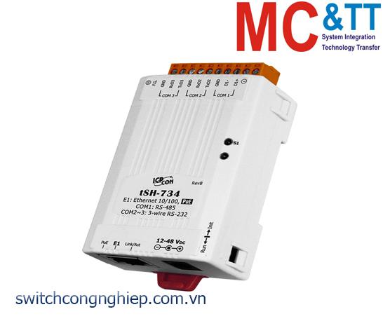 tSH-734 CR: Bộ chia cổng 2 cổng RS-232 +1 cổng RS-485 với PoE ICP DAS
