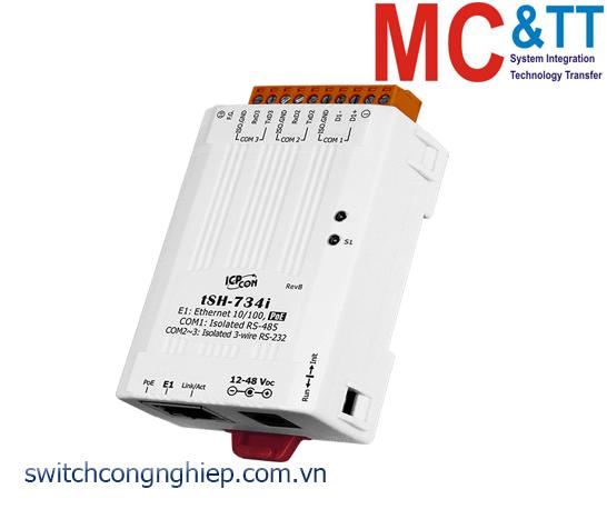 tSH-734i CR: Bộ chia cổng 2 cổng RS-232 cách ly+1 cổng RS-485 cách ly với PoE ICP DAS