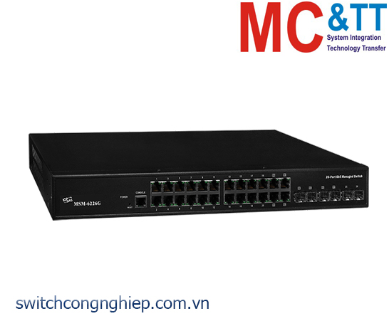 MSM-6226G CR: Bộ chuyển mạch công nghiệp 20 cổng Gigabit Ethernet + 4 cổng combo 100/1000 TP/SFP+ 2 cổng SFP ICP DAS