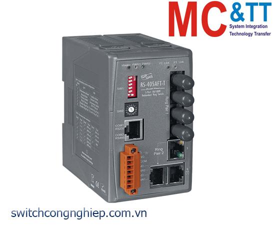 RS-405AFT-T CR: Bộ chuyển mạch công nghiệp 5 cổng Ethernet 2 cổng quang Multi Mode ST ICP DAS