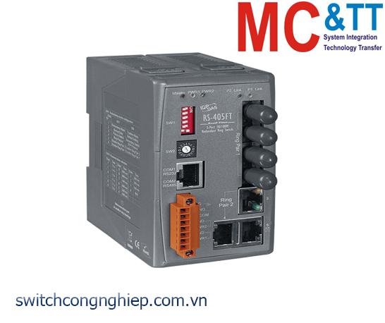 RS-405FT CR: Bộ chuyển mạch công nghiệp 5 cổng Ethernet 2 cổng quang Multi Mode ST ICP DAS